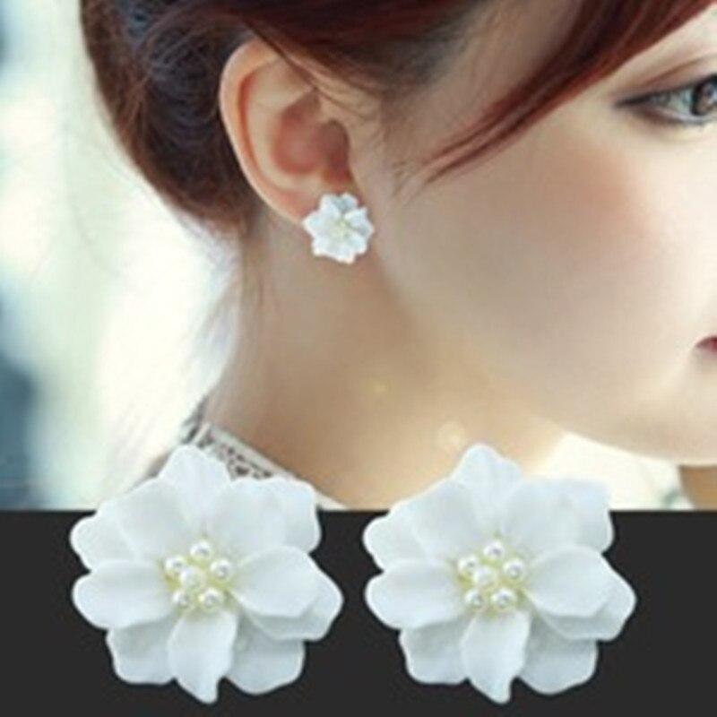 Новые модные большие белые серьги с цветами, подходящие для женских украшений, элегантные свадебные серьги, подарочные серьги, декоративные аксессуары