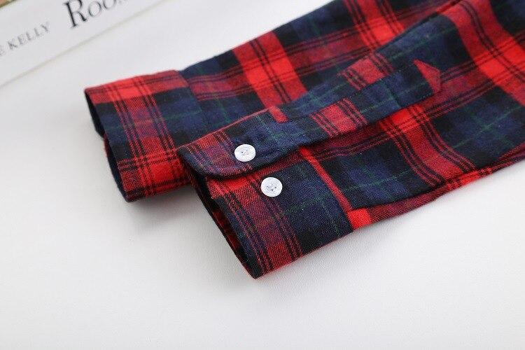 2018 Fashion Plaid Shirt Female College Style Women's Blouses Long Sleeve Flannel Shirt Plus Size Casual Blouses Shirts M-5XL 46