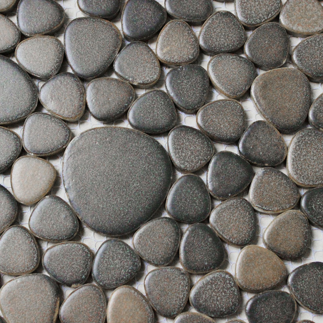 gray porcelain tile pebble mosaic kitchen backsplash tile bathroom ...