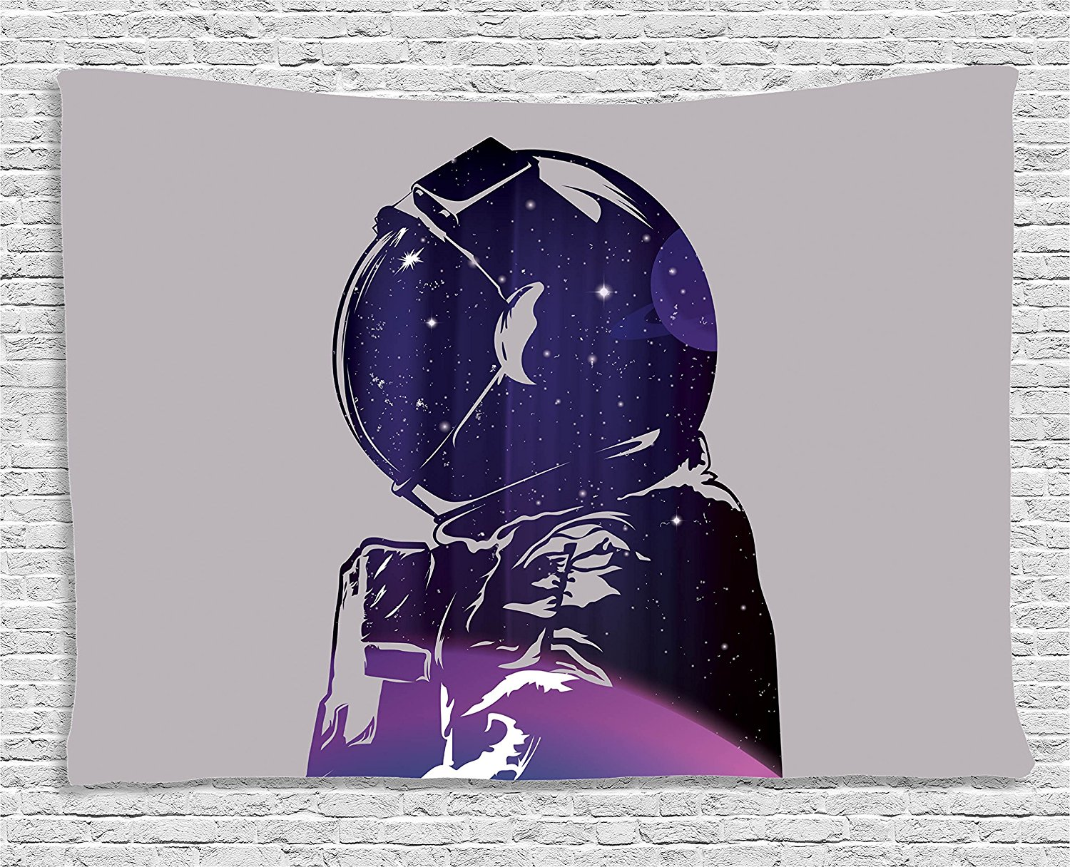 Outer space decor tapestry exposure of cosmonaut star for Outer space decor