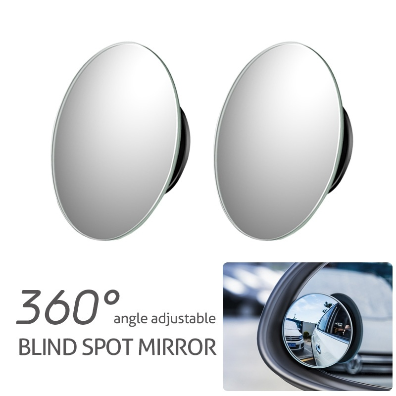 2pcs Full Angle Adjustable Car Blind Spot Mirrors Self Adhesive Safety Rearview Driving Auxiliary Mirror Mirror & Covers     - title=