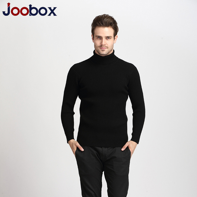 JOOBOX Winter Thick Warm Cashmere Sweater Men Turtleneck Mens Sweaters Slim Fit Pullover Men Classic Wool Knitwear Pull Homme