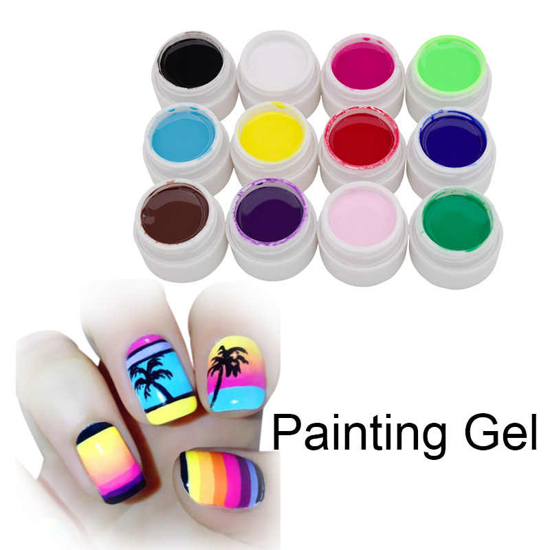 Ellwings 12 couleurs dessin Gel vernis peinture à la main UV Gel vernis à ongles paillettes Semi Permanent français autocollant Nail Art