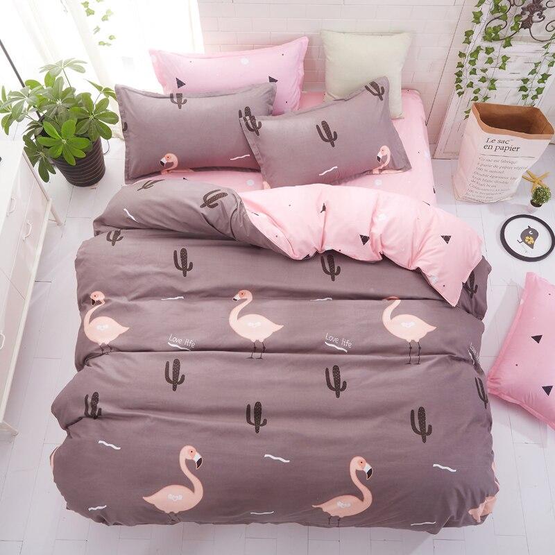 Pillowcase Bedding-Set Duvet-Cover Microfiber-Fabric Flat-Sheet 3/4pcs Home Hot-Sale