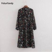 Mid-Calf Chiffon Summer Dress Women Plus Size 3 4 XL Bow V-neck Flower Prairie Chic Dress Vestidos KKFY1691