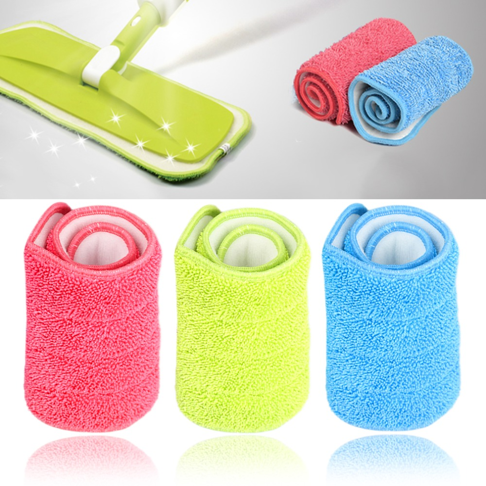 3 Colors Replacement Microfiber Washable Mophead Wet and Dry Cleaning Mop Pads Fit Flat Spray Mops Household Cleaning Tools