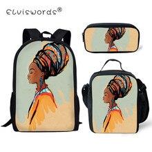 ELVISWORDS3Pcs/Set Black Queen African American Girls School bag Children Female Primary Students Bags Mochila Escolar