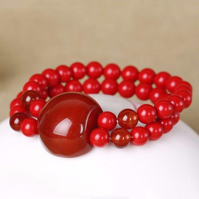 TNUKK font b Fashion b font red cinnabar with red stone beads bracelet font b jewelry