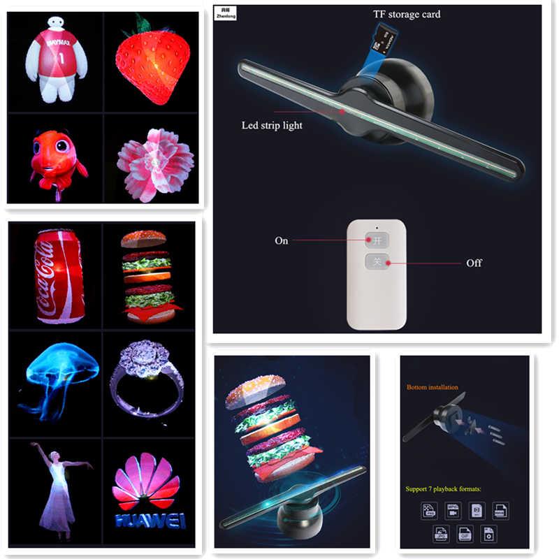 Портативный пульт светодио дный светодиодный голографический проектор голограмма плеер 3D голограмма проектор голографическая реклама дисплей вентилятор