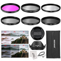 Neewer 52MM Camera Lens Filter Accessory Kit:52MM Filters(UV/CPL/FLD/ND2/ND4/ND8)+Lens Hood+Lens Cap For Canon/Nikon/Pentax/Sony