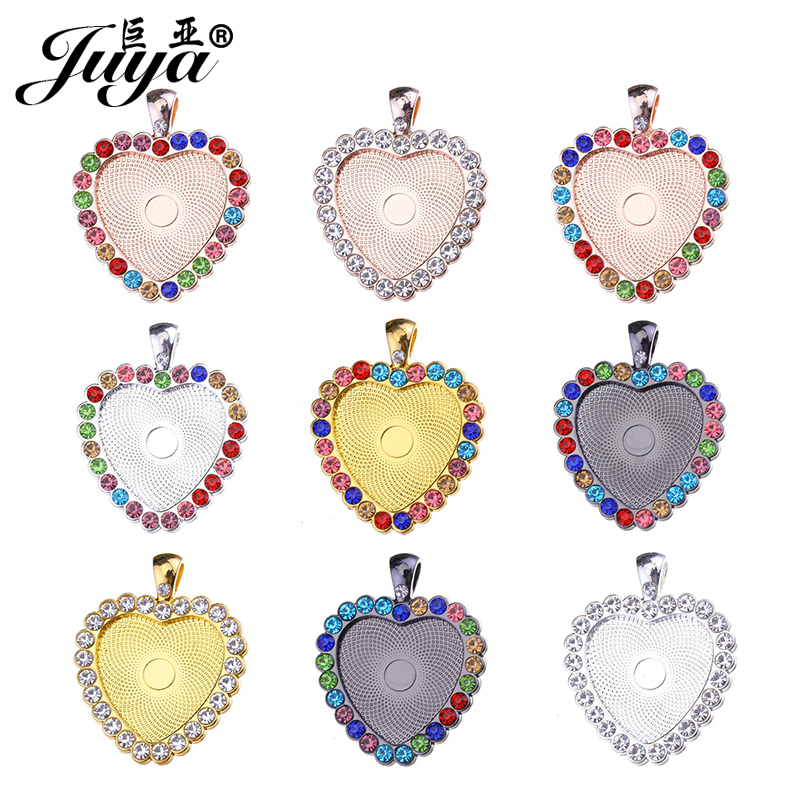 JUYA Charms Pendant Tray With Rhinestone For Necklace Handmake Accessories 25mm 3pcs Heart Cabochon Base Cameo Setting AD0188
