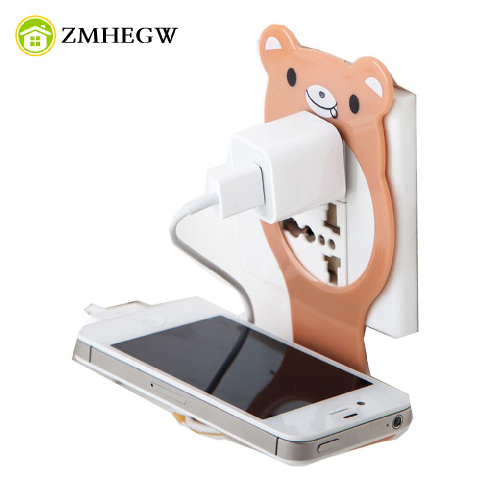 Cartoon Foldable Mobile Phone MP3 Wall Charger Stand Holder Support Charging Storage Rack Shelf Multifunction Holders