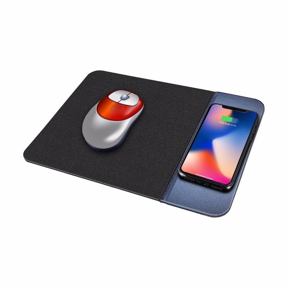 Novo Mouse Pad de Carregamento Sem Fio Carregador de Carregamento Para O Telefone Móvel Do Mouse PU Material De Borracha Esteira de Carregamento 220V-5V-1000mA