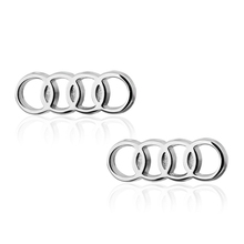Men's shirts Cufflinks high-quality copper material Silver Audi logo Cufflinks 2 pairs of packaging for sale