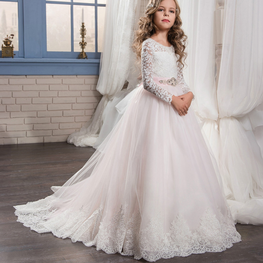 Pageant Dresses for Girls Glitz Lace Ball Gown O-neck Long Sleeves Flower Girl First Communion Gowns Vestidos Longo New Arrival