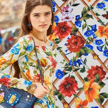 Rural wind digital painting chiffon fabric for summer dress vestidos vestido plus tissu patchwork tissu au metre telas tissus(China)