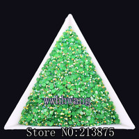 DIY,1000pcs/bag,SS6,2mm,3D Nail Art Tips,Dark green color jelly ab resin flat back crystal rhinestone