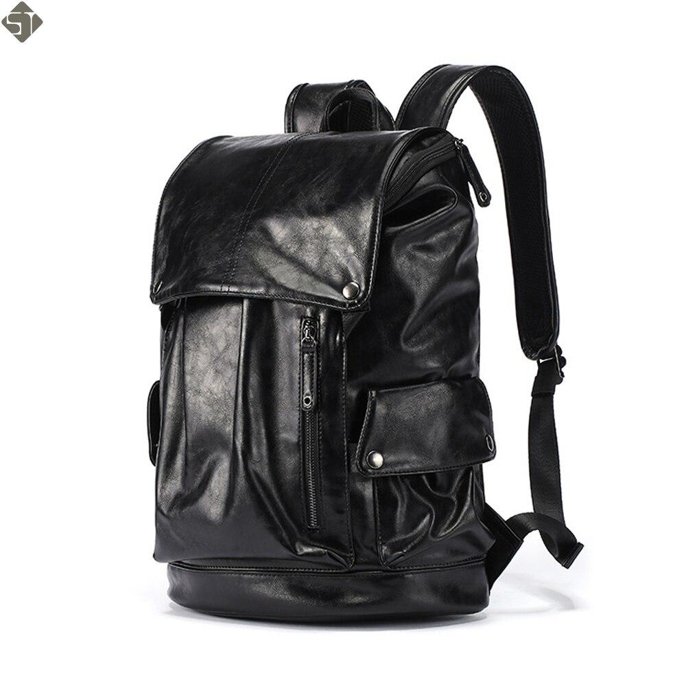 FUSHAN grande capacité grand sac à dos de voyage pour hommes sac à dos en cuir noir homme sac à dos pour voyage sac à dos pour ordinateur portable mochila masculina