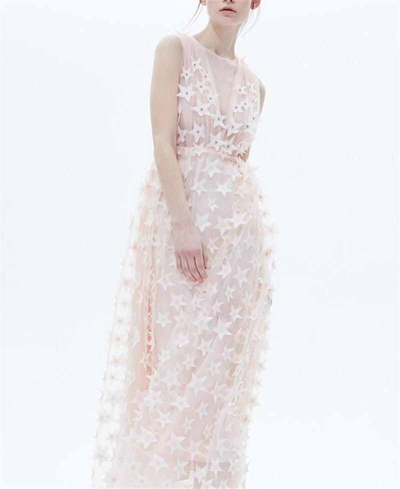 Haut de gamme personnalisé robe romantique Design stéréo décalque fantaisie doux maille fil sans manches élégant Long 2019 robe femmes