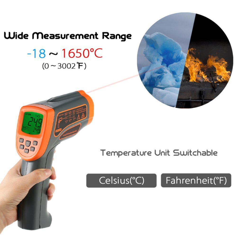 -18 to 1650 Degree Electronic Pyrometer Adjustable Emissivity Digital Non-contact IR Infrared Thermometer infrared ir thermometer digital pyrometer ifine temperature tester thermometre infrarouge termometro digital alarm emissivity