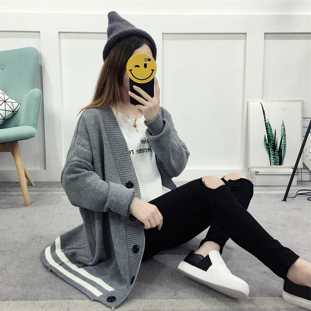 Batwing Sleeve Loose Knitted Sweater 1