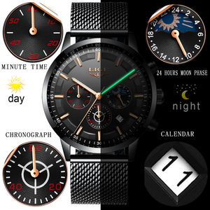 Image 3 - Relogio LIGE Mens Watches Top Brand Luxury Casual Quartz Wristwatch Men Fashion Stainless Steel Waterproof Sport Chronograph+Box