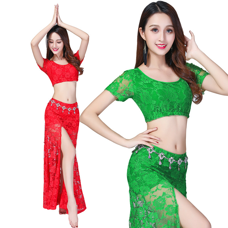 Image 4 - Sexy belly dance lace costume(top+skirt)2pcs/suit Sexy lace split skirt suit-in Belly Dancing from Novelty & Special Use