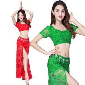 Image 4 - Traje Sexy de encaje para danza del vientre (top + falda), 2 uds./traje, falda dividida de encaje