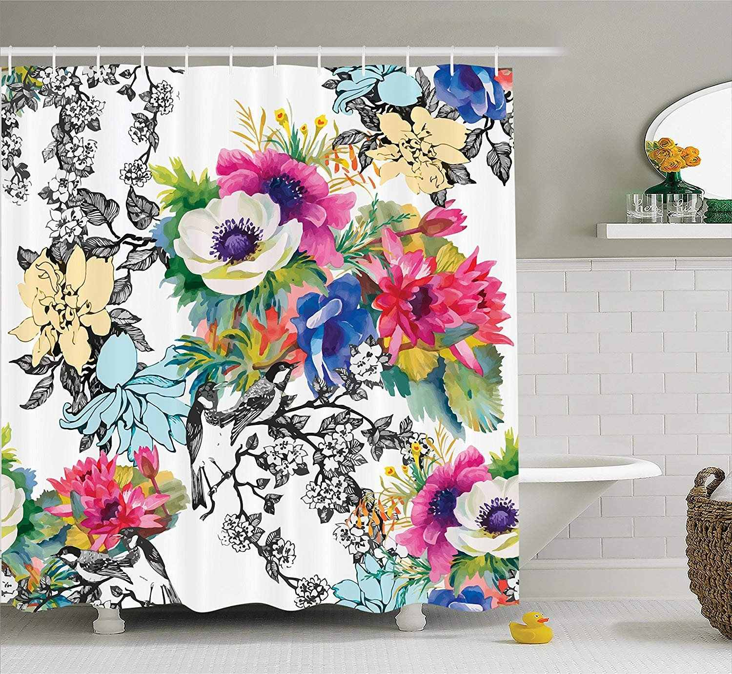 Flower House Vivid Multi-Layered Pattern Print Blossoming Wildflowers Birds Leaves and Branches Bathroom Shower Curtain
