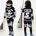 Nova moda Primavera Outono crianças menino conjunto de roupas Trajes de ruas das crianças ternos do esporte Hip Hop dance calças moletom