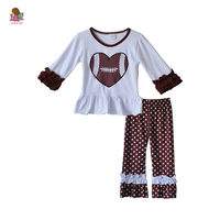 Valentine's Day Boutique Kids Clothing Baby Set Ruffled Sleeves Heart Shaped Tops Polka Dot Pants Girls Outfits V028