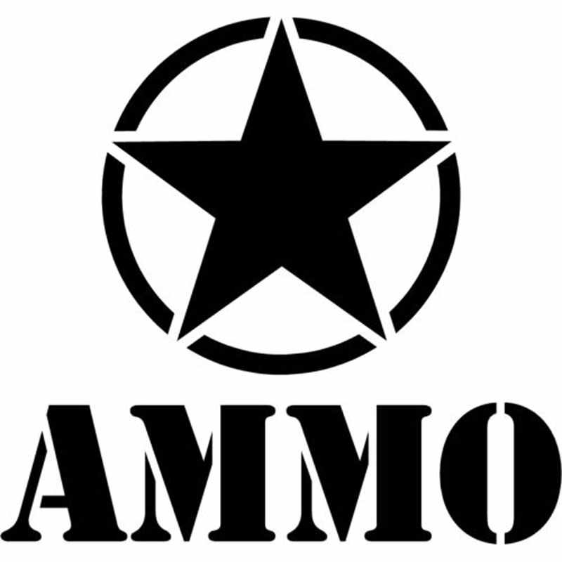 16CM*15CM Army Star Ammo Decal Car Stickers Motorcycle Decorating Stickers  For Sliver Black C8-0352