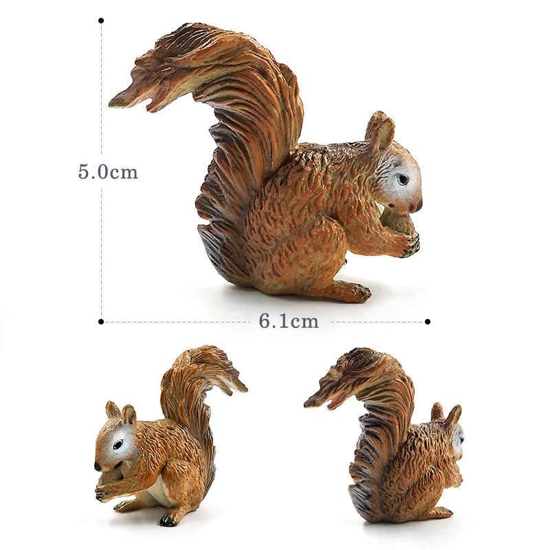 Simulação pequeno Esquilo Wombat Elefante animal da floresta modelo figura estatueta de plástico Decoração brinquedos educativos Presente Para As Crianças