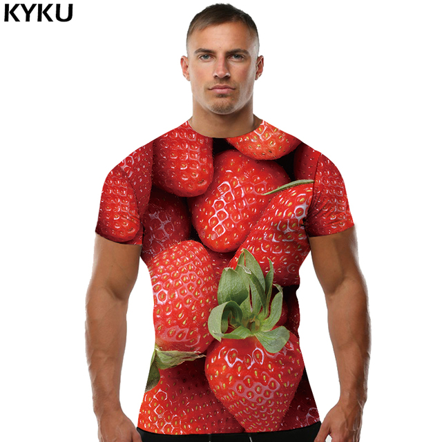 49fa8b10d KYKU Strawberry T shirt Fruit Tshirt Funny Clothes Tees Tops Clothing Men  Rock Summer Ftness New