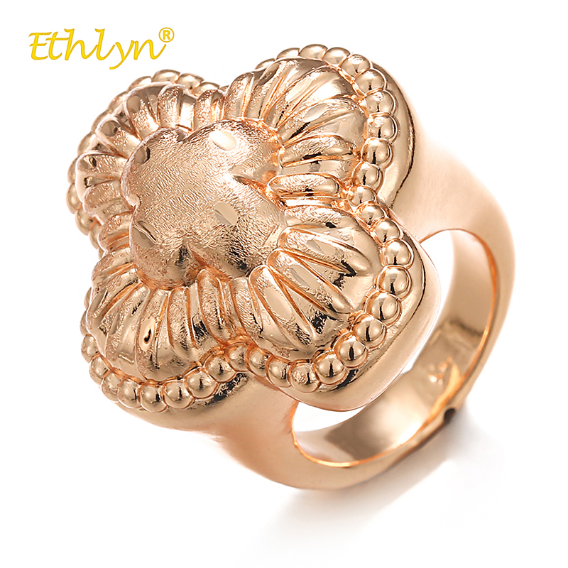 Ethlyn 2018 Fashion Big Rings for Women Clover Flower Ring Nigeria/African Female Engagement Ring Luxury Rose Gold Color Rings