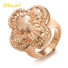 Ethlyn 2018 Fashion Big Rings for Women Clover Flower Ring Nigeria/African Female Engagement Ring Luxury Rose Gold Color Rings(China)