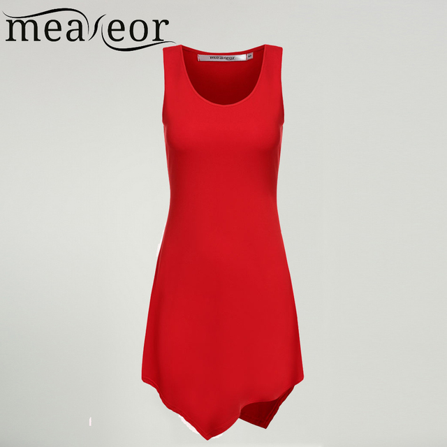 Meaneor Women Sleeveless t-shiirt Tops A-Line women Irregular t-shiirt Tops women Fashion Hem Slim t-shiirt Tops summer