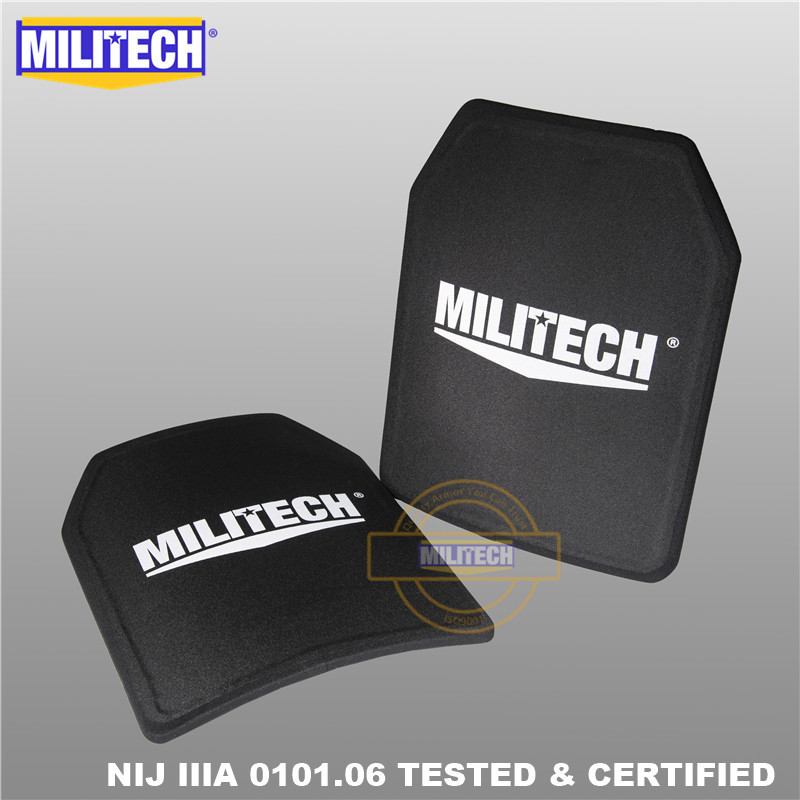 MILITECH Two Pcs Pair 11 X 14 Inches Shooters Cut NIJ IIIA 3A Ultra Light Weight Ballistic Panel Bulletproof Backpack PE Plate