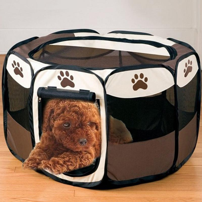 foldable fabric pet bed pet play pen puppy rabbit cage folding run dog fence garden crate
