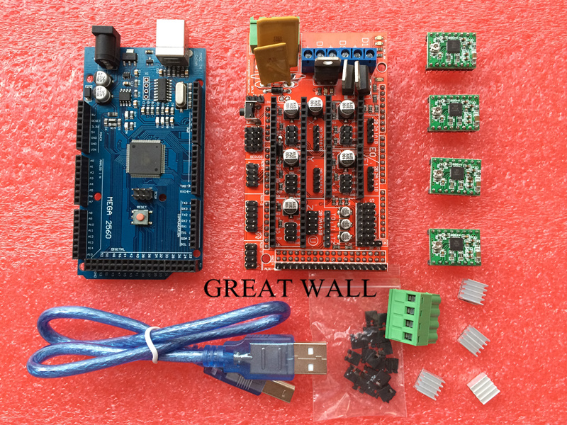 Mega 2560 R3 + 1 piezas rampas 1,4 controlador + 4 piezas A4988 paso a paso Módulo de controlador para 3D kit de impresora reprap MendelPrusa