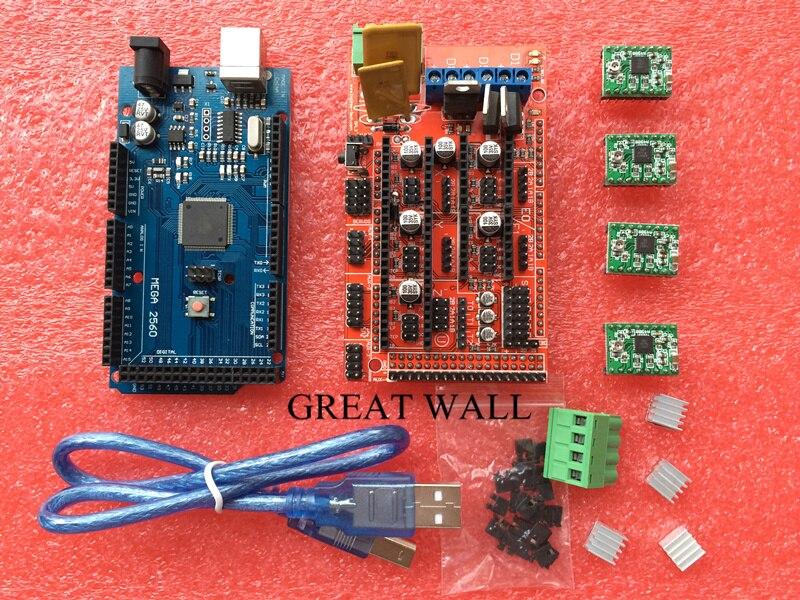 Mega 2560 R3 + 1 unids rampas 1,4 controlador + 4 unids A4988 paso a paso Módulo de controlador para 3D kit de impresora Reprap MendelPrusa