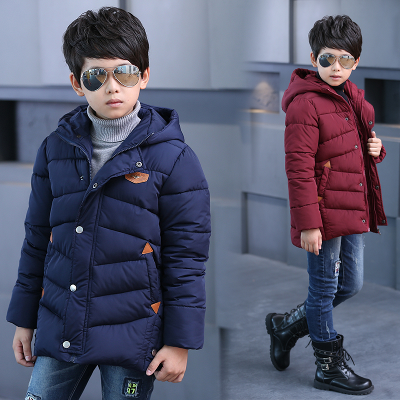 New winter boys down jacket cotton padded down & parkas hooded thicken warm boy outerwear coat children clothing 2016 new hot winter thicken warm woman down jacket coat parkas outerwear hooded luxury long plus size slim brands
