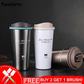 Keelorn 500ML Thermos Mug vacuum flasks Thermo mug with Lid Thermocup Seal Stainless Steel Coffee Cup for Car Water Bottles - DISCOUNT ITEM  40% OFF All Category
