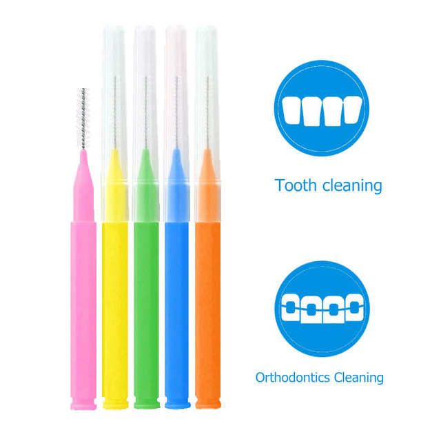0.6-1.5mm Interdental Brushes, 60pcs/box Tooth Push-Pull Escova Removes Food And Plaque Better Teeth Oral Hygiene Tool