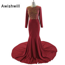 Fashion Burgundy Evening Gowns Full Sleeve Vestido Festa Beadings Chiffon Court Train Women Mermaid Evening Dresses Long 2018