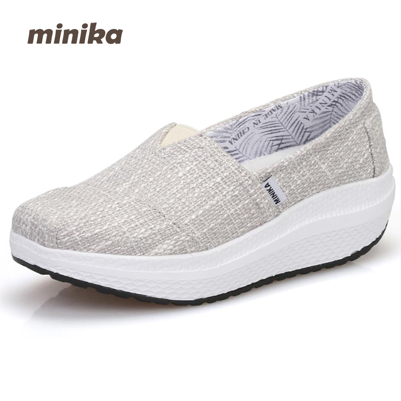 Minika women Canvas wedges Shoes Summer breathable Slip On Shallow Lose Weight Platform Casual Flats Outdoors Shoes 7e10 new women lose weight slimming swing shoes summer breathable air mesh slip on wedge platform shoes zapatillas mujer deporte