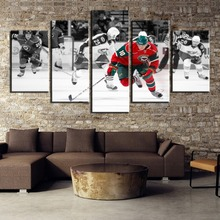 Framework 5 Piece HD Print Ice Hockey Sport Attack Figure Poster Paintings on Canvas Wall Art for Home Decorations Decor