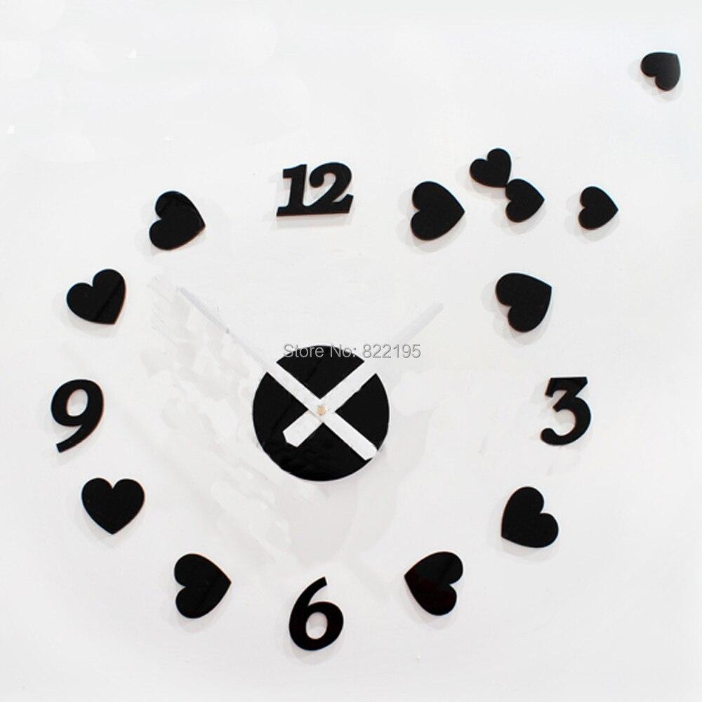 small hearts love peaches creative wedding room decor diy self adhesive acrylic living room wall clock