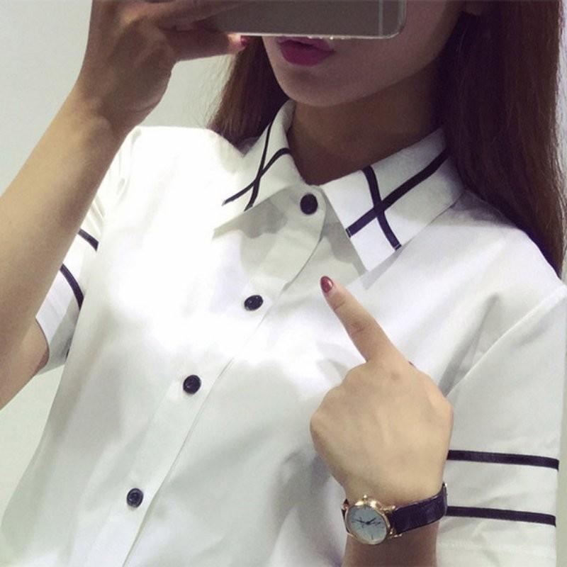 HTB1aPpDNXXXXXbpXFXXq6xXFXXXn - Fashion Ladies Office Shirt White Blue Tops Formal