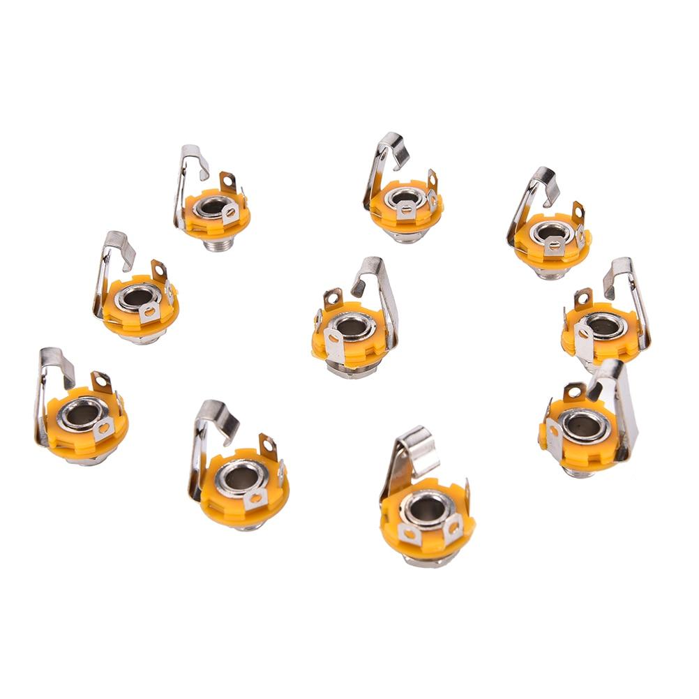 zlinkj-10-pcs-wholesale-nickel-635mm-1-4-inch-mono-ts-panel-chassis-mount-jack-audio-female-connector-solder
